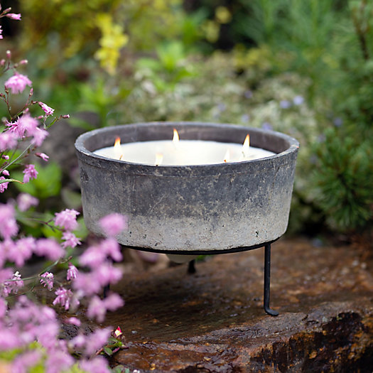 View larger image of Linen Pot Citronella Candle + Plant Stand