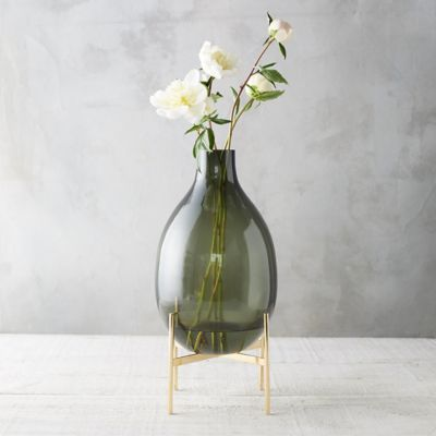 Oval Neck Vase, Brass Stand