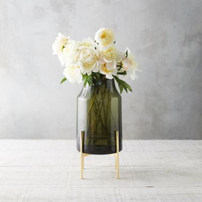 Wide Mouth Vase, Brass Stand