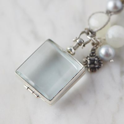 Gray Pearl & Glass Locket Necklace