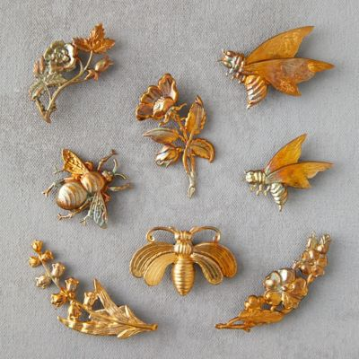 Bee & Flower Brass Magnets, Set of 8