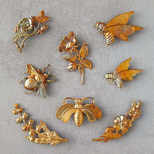 View larger image of Bee & Flower Brass Magnets, Set of 8