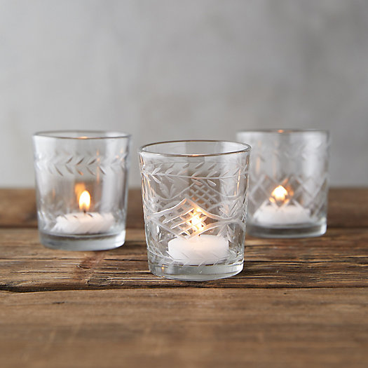 View larger image of Cut Glass Votives, Set of 3
