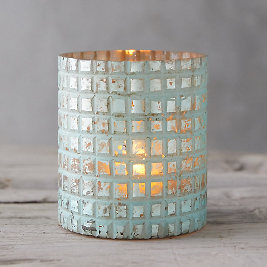 View larger image of Teal Grid Votive Holder