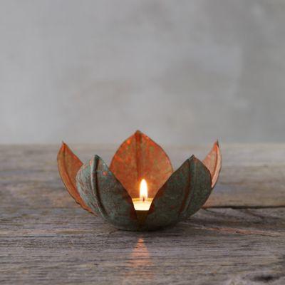 Verdigris Petal Tea Light Holder
