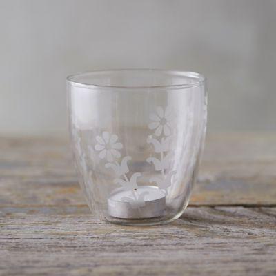 Etched Glass Votive Holder