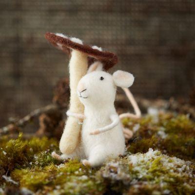 Felt Mouse and Mushroom Ornament