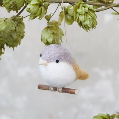 Felt Bird on a Branch Ornament