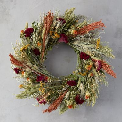 Flax and Safflower Bouquet Wreath