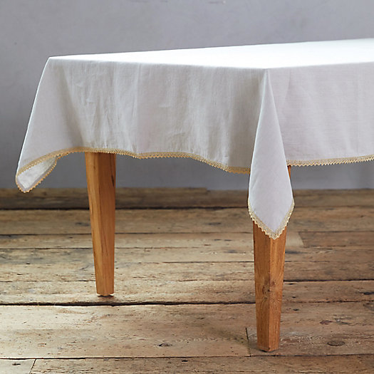 View larger image of Gold Trimmed Linen Tablecloth