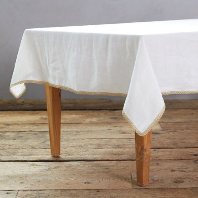 Gold Trimmed Linen Tablecloth