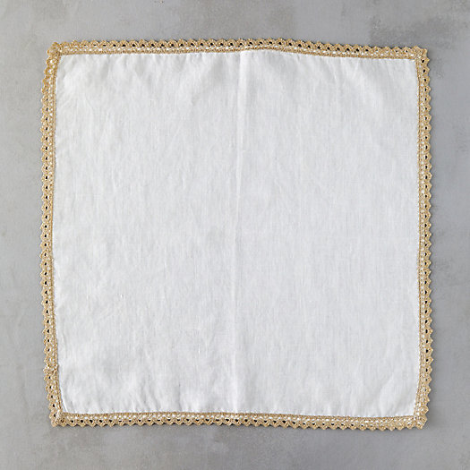View larger image of Gold Trimmed Linen Napkin