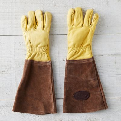 Men's Leather Gauntlet Garden Gloves