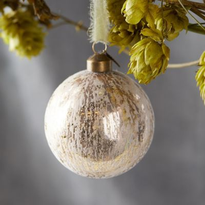 Flocked Metallic Globe Ornament