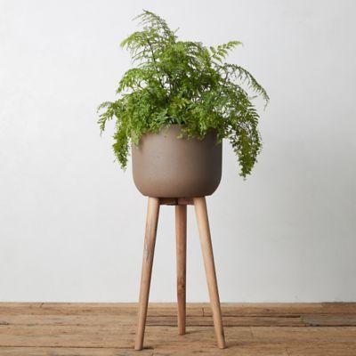 Wood Leg Fiber Stone Pot