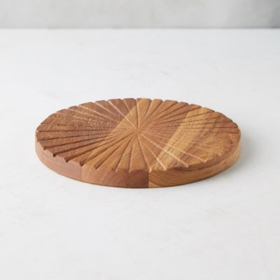 Notched Round Oak Serving Board