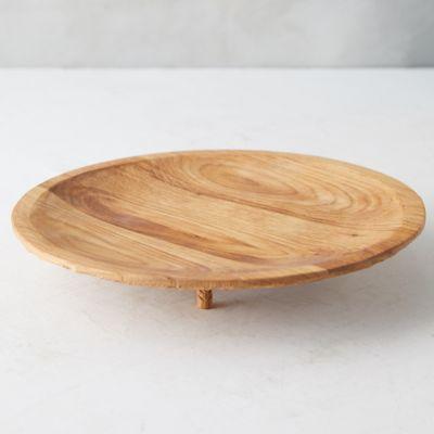 Footed Round Oak Platter