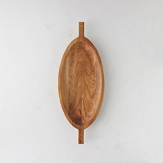 View larger image of Handled Oval Oak Tray, Large