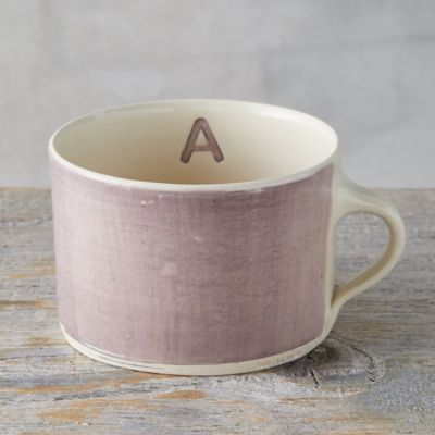 Color Washed Monogram Soup Mug