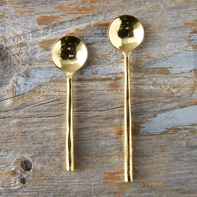 Hammered Brass Plated Spoon Set