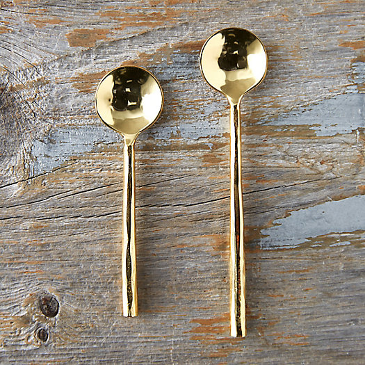 View larger image of Hammered Brass Plated Spoon Set