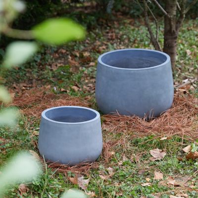 Fiber Concrete Rounded Pot