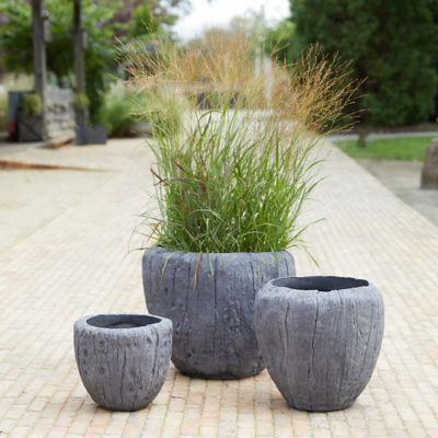 Fiber Concrete Wood Grain Pot