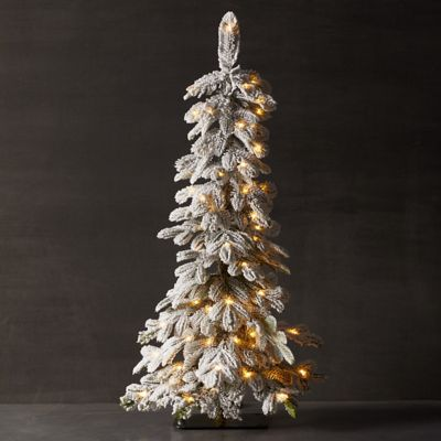 Faux Snowy Pre-lit LED Alpine Tabletop Tree