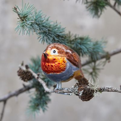 Red-Breasted Robin Clip On Glass Ornament