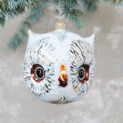 Owl Head Glass Ornament, Large