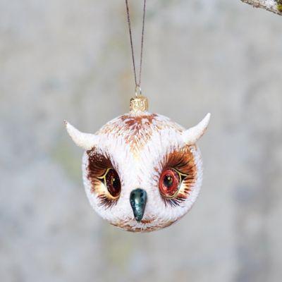 Owl Head Glass Ornament, Small