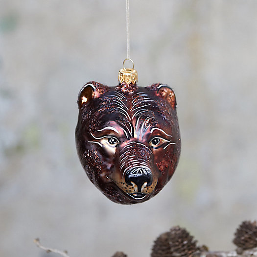 View larger image of Bear Head Glass Ornament