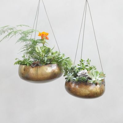 Hanging Distressed Metal Bowl