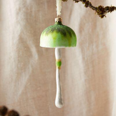 Forest Mushroom Glass Ornament, Green