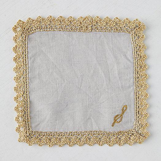 View larger image of Gold Trimmed Monogrammed Cocktail Napkin Set