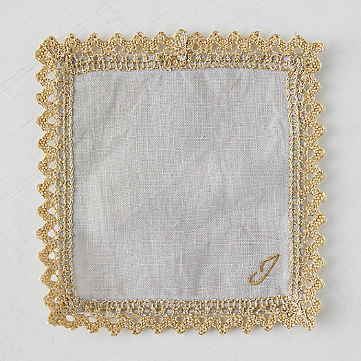 View larger image of Gold Trimmed Monogrammed Cocktail Napkin Set