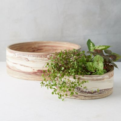 Marbled Earthenware Low Bowl Planter