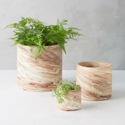 Marbled Earthenware Bowl Planter