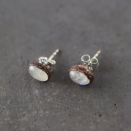 View larger image of Raw Moonstone Stud Earrings