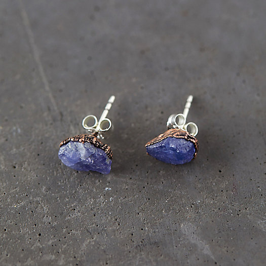 View larger image of Raw Tanzanite Stud Earrings