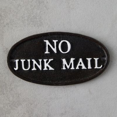 Cast Iron No Junk Mail Sign