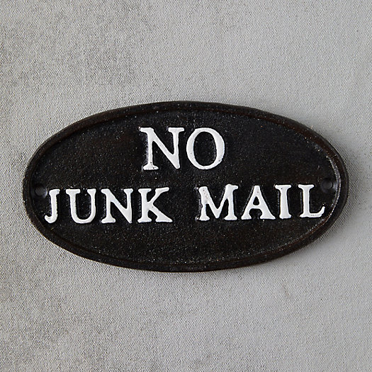 View larger image of Cast Iron No Junk Mail Sign