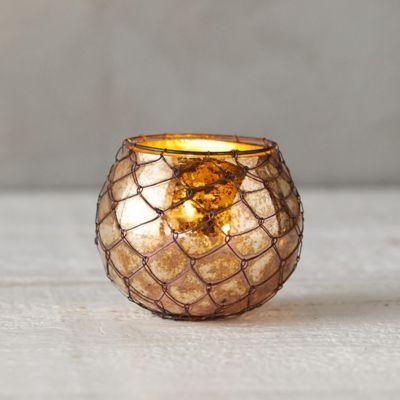 Wire Wrapped Copper Votive Holder, Round