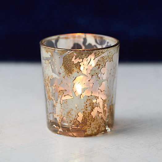 View larger image of Clear Gold Floral Votive Holder