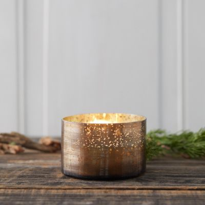 Mercury Glass Candle, Woodfire