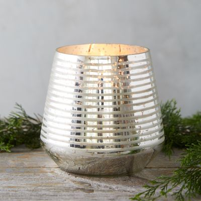Metallic Stripe Candle, Balsam + Cedar