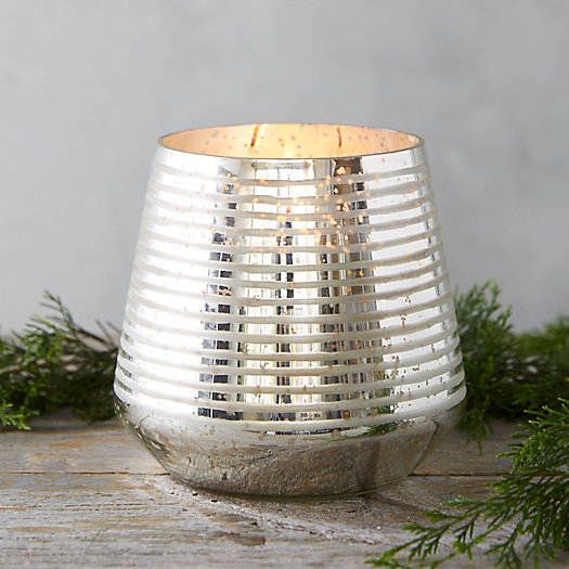 View larger image of Metallic Stripe Candle, Balsam + Cedar