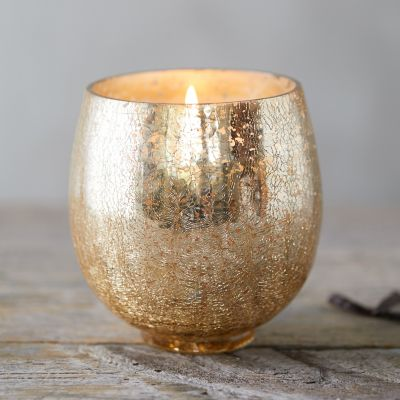 Crackle Glass Candle, Twilight Vanilla