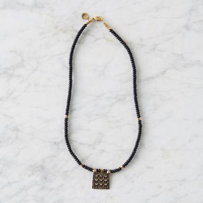 Beaded Onyx Brass Pendant Necklace