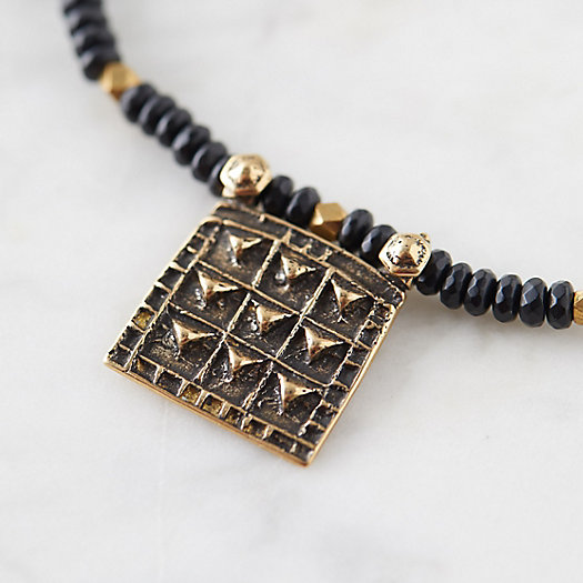 View larger image of Beaded Onyx Brass Pendant Necklace
